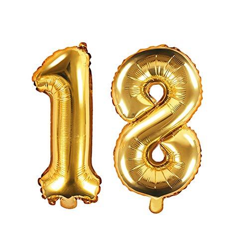 XXL folieballon/getal 18 in goud/verjaardagsballon voor de 18e Verjaardag/jaar cijfer/Leeftijd/Decoratie Decoratie Veenjaarsdag/Voljarig