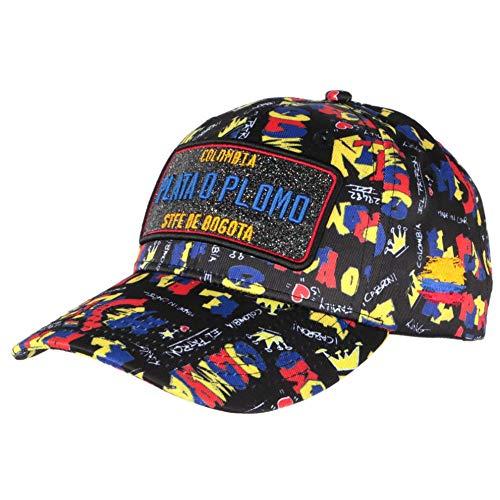 Gorra plateada o Plomo negro y azul Colombia béisbol Fashion – Unisex Negro Talla única