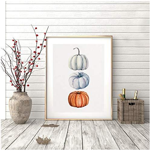 sjkkad Aquarel pompoendruk herfst oogst kunst poster Halloween muurkunst canvas schilderij afbeelding Thanksgiving decoratie 50x70 cm geen lijst