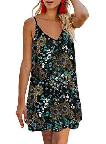 AlvaQ Womens Fashion Casual Summer Ladies Boho Flower Print Spaghetti Strap Sleeveless Button Down V Neck A Line Swing Skater Mini Dresses Plus Size 1X