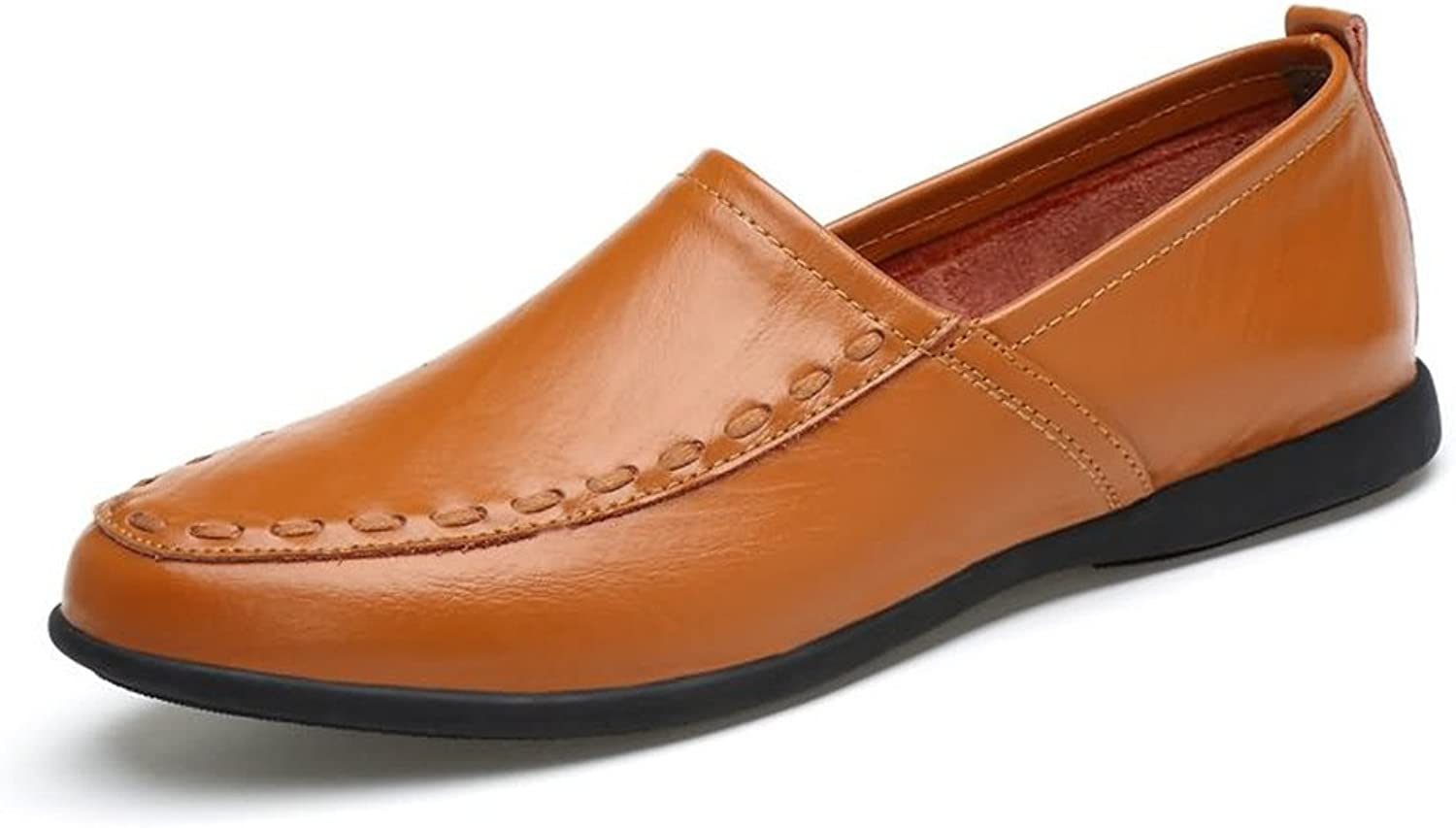 Men Casual Drive Loafers New Legume shoes Soft Genuine Leather Breathable Low Top Large Size Boat Moccasins For Party, Casual Or Even Formal Events (color   gold Yellow, Size   8 UK)