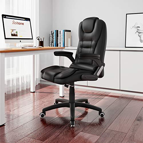 Executive Office Chair for Home,High-back Ergonomic Extra Padded Computer Desk Chair with Rocking Function Comfy Swivel PC Gaming Chair with Arms