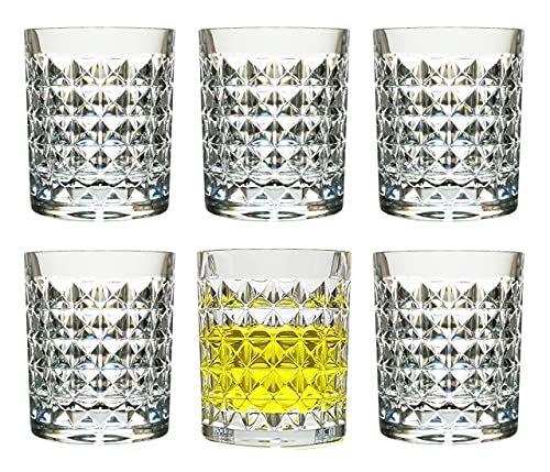 8 Oz Set of 6 Plastic Whiskey Glasses Unbreakable Drinking Cups Dishwasher Safe BPA Free Cocktail Beer Drinkware Shatter Proof Crystal Clear Tumblers Acrylic Juice Drinking Glasses for Kids