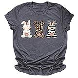 LUNDNEY T-Shirt Femme Imprimé Pâques Motif Animal Mignon Lâche Casual Manches Courtes Tee Veste Haut Top Couple Shirt T-Shirt 100% Coton Tees Shirts Anniversaire Cadeau D'Amour