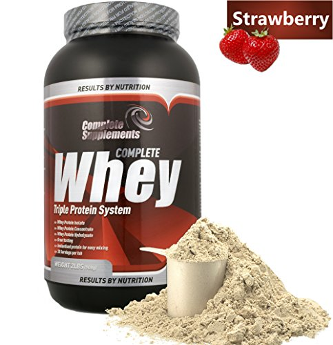 Triple Whey Protein Powder Premium Complete Supplements (Strawberry, 908g)
