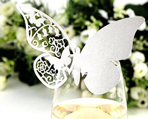 No.2 Warehouse 50 Pcs heart-shaped Wedding Table Paper Place Card Escort Name Card Wine Glass Card for Wedding Party Decoration + a Piece of Clean Cloth