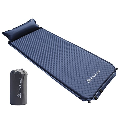FreeLand Camping Sleeping Pad Self Inflating with Attached Pillow, Compact, Lightweight, Large, Dark Navy Blue Color