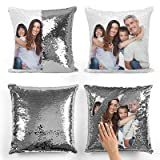 Print Manics Personalised Silver Sequin Cushion Cover Magic Reveal Photo Printed Gift Custom Pillow