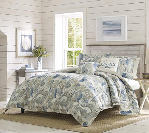 Tommy Bahama Raw Coast Collection Comforter Set - Premium Quality Ultra Soft Breathable Cotton, All Season Bedding, Designed for Home Hotel Décor, King 5pc, Blue