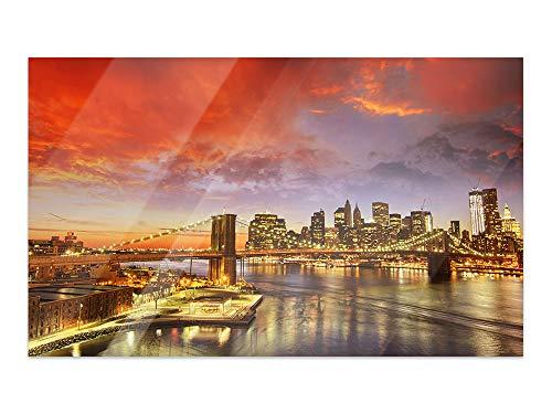 GRAZDesign glazen foto's Skyline - Afbeeldingen op glas stad 's nachts / 100957 60x40cm