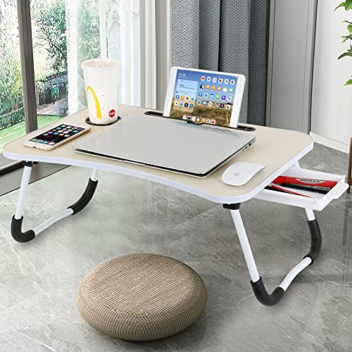 CHARMDI Laptop Desk with Storage Drawer, Portable Lap Desk with Foldable Legs, Laptop Table for Reading Book, Eating Breakfast, Working, Watching Movie on Bed/Couch/Sofa Yellow