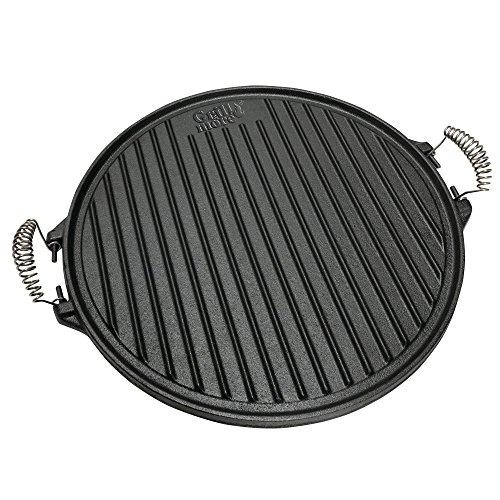 GRILL & MORE Essentials Piastra in ghisa per barbecue 2 in 1 – Piastra rotonda reversibile di diametro 43 cm con un lato scanalato e uno liscio