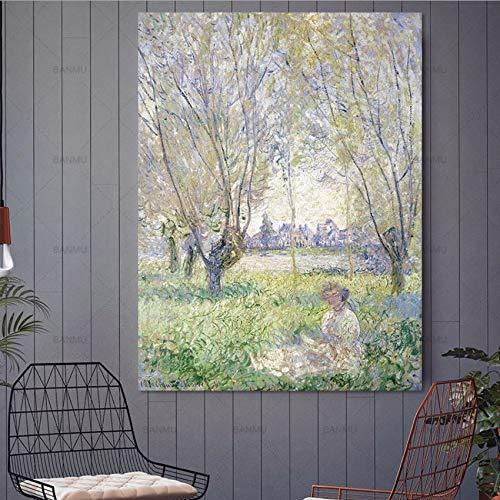 Djkaa kunstdruk op canvas, abstracte druk, muurkunst, decoratie voor thuis, schilderij van een vrouw met een paraplu, druk op canvas, landschap met lijst