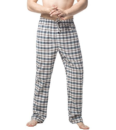 LAPASA Pantalon de Pyjama Homme Bas de Pyjama à Carreaux 100% Pur Coton/Flanelle Doux Chaud Ultra Léger Confortable M38&M39, Coton Pur (Carreaux Noir & Vert), S (Tour de taille : 71-76cm)
