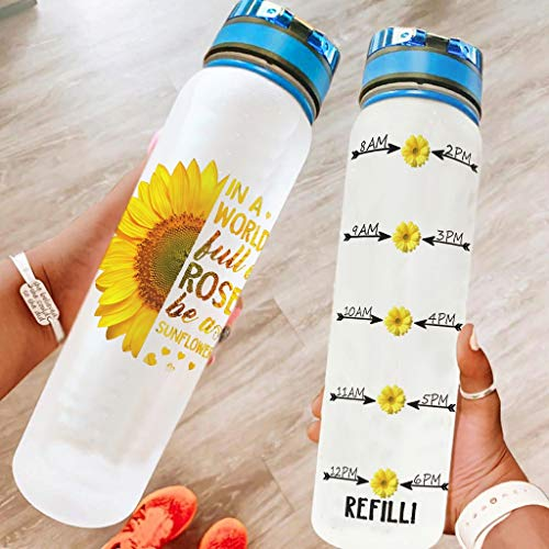 Etmriy Cool Sunflower Sport Water Bottle with Carry Strap - Water Jug Suitable for Outdoor Sports White 1000ml