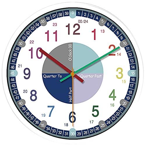 CJBIN Reloj de Pared Infantil, Diseño Colorido Mecanismo Reloj de Pared Silencioso Aprender a Leer, Reloj Pared Digital para Niños, Niñas, Habitaciones para Niños, Aulas (24.3 CM)