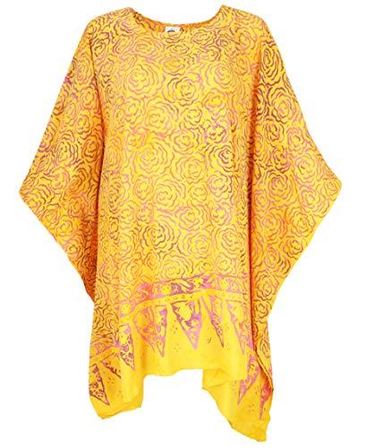 Guru-Shop Poncho, Tunika, Strandkleid, Batik Kaftan, Damen Übergröße, Gelb, Synthetisch, Size:One Size, Blusen & Tunikas Alternative Bekleidung