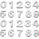 20 Piezas 2 Pulgadas Números de Buzón 0-9 Números de Dirección Números de Puerta Autoadhesivos Números de Buzón Reflectantes Plateados para Buzón Casa