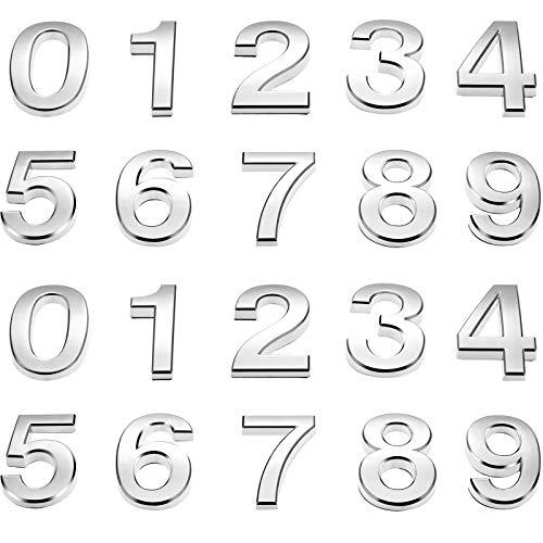 20 Stück Mailbox Nummer 0-9 Adresse Nummern Selbstklebend Tür Nummer Reflektierend Mailbox Nummer für Haus Mailbox (Silber, 2 Zoll)