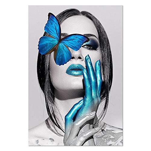 U/N Moderno Negro Blanco Sexy Mujer Encantadora Belleza de Labios Lienzo Pintura Moda Mariposa Pared Arte Imagen para Sala de Estar decoración del hogar-7
