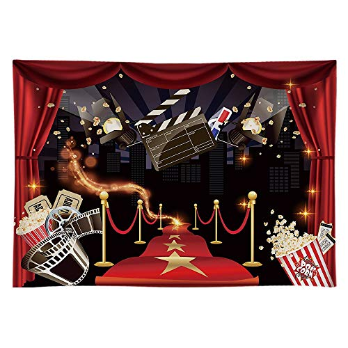 Funnytree 8X6ft Hollywood Party Backdrop Popcorn Movie Night Birthday Background Premiere Marquee Red Carpet Celebrity Banner Photobooth Decorations Photo Studio Props