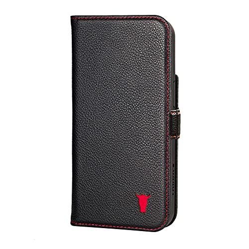 TORRO Handyhülle Kompatibel Mit iPhone 13 Pro Max - Hochwertige Lederhülle Mit Kartenfächern Und Horizontale Standfunktion (Schwarz)
