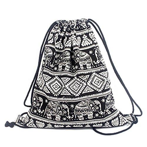 Qingsun Sac en Coton avec Cordon, Rétro Impression Sacs Toile Sac à Dos, élégant Sac à Dos de Cordon