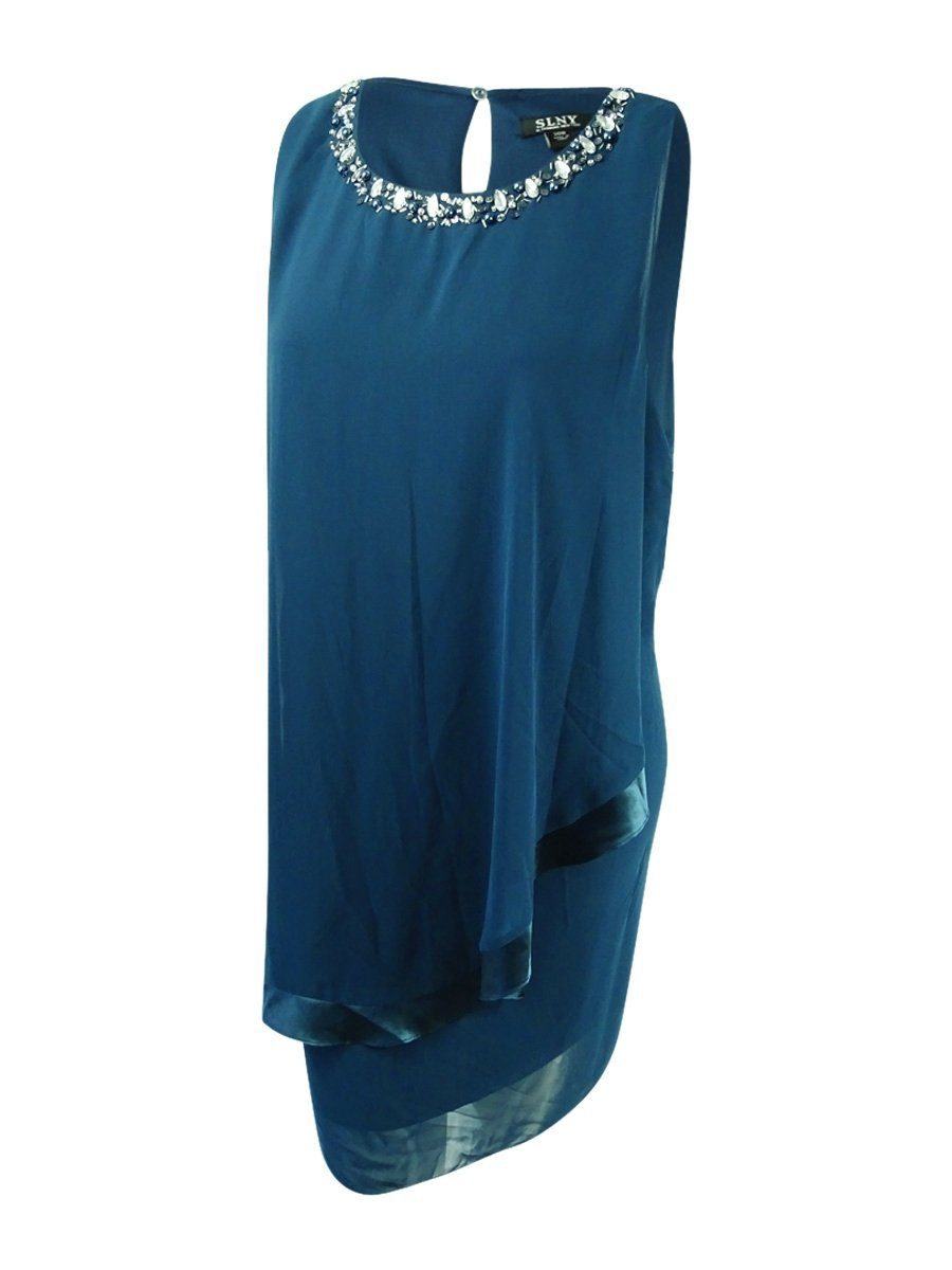 Available at Amazon: SL Fashions Women's Embellished Overlay Dress (14 Midnight Teal)