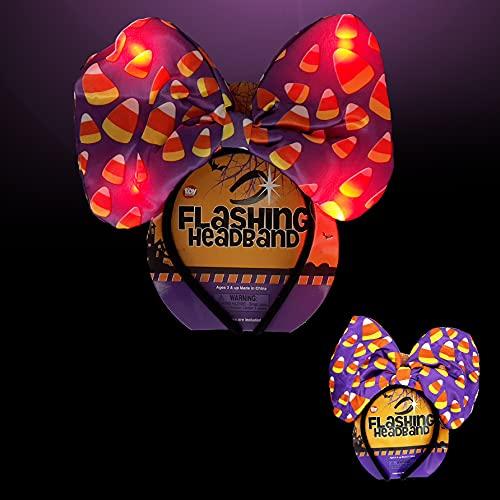 The Dreidel Company Halloween Headband - Halloween Candy Corn Light-Up Bow Headband, Halloween Party Favor 10' (2-Pack)