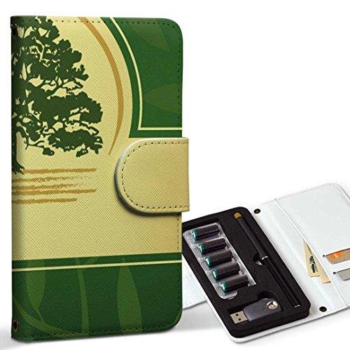 スマコレ ploom TECH プルームテック 専用 レザーケース 手帳型 タバコ ケース カバー 合皮 ケース カバー 収納 プルームケース デザイン 革 その他 木 グリーン 001259