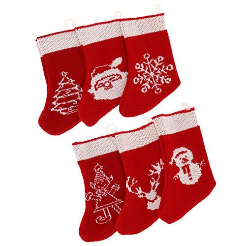 SHIPITNOW 6 kleine Weihnachtssocken zum Aufhängen, rot und weiß – Motiv Schneeflocke Tannenbaum Rentier, Wichtel, Schneemann und Weihnachtsmann – Weihnachtsstrümpfe aus Strickgarn, Geschenke