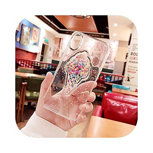 Carcasa para iPhone 11, con purpurina para iPhone 12 Mini 11 Pro Max XR XS Max X 8 7 6 6S Plus se 2020 – Funda crema helada transparente para 12 Mini 5.4