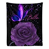 CUXWEOT Custom Blanket Personalized Purple Butterfly Rose Soft Fleece Throw Blanket with Name for Gifts Sofa Bed (50 X 60 inches)