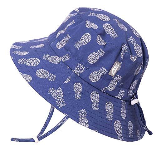 JAN & JUL Toddler Boys Girls Cotton Bucket Sun Hats 50 UPF, Drawstring Adjustable, Stay-on Tie (6-24 Months, Geo Pineapple)