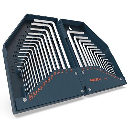 Presch set di 30 chiavi a brugola HX - Set compatto di chiavi a brugola metriche e in pollici con custodia