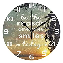 WellLee Be The Reason Someone Smiles Today Quote Clock Arabic Type Clock Acrylic Painted Silent Non-Ticking Round Wall Clock Home Art Bedroom Living Dorm Room Decor