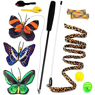 TOTARK 11 Pcs Butterfly Cat Wand Cat Toys, Retractable Cat Teaser Wand Realistic Crinkle Catnip Butterflies Kitten Toys with Interactive Cat Wand Toys for Indoor Cats