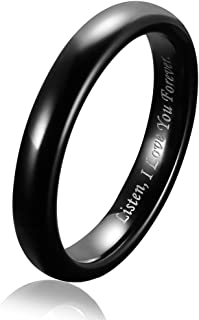 4MM Tungsten Carbide Wedding Band Rings Couple Jewelry for Women Men Plain Dome Polished Engraved I Love You Forever Comfo...