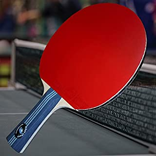 Gambler Custom Professional Table Tennis Paddle with Quick Strike PolyCarbon Blade and Shadow Rubber plus Blue Case