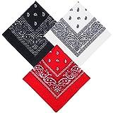 Ealicere 3Pcs Paisley Bandanas(rot, weiß, schwarz) ,Haar Accessoire Kopf Schal,Baumwolle...