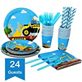 Construction Kids Birthday Party Supplies Set – Serves 24 Guests - Dump Truck And Digger Disposable Tableware Pack– Includes excavator Paper Plates, Cups, Straws, Napkins, Knives, Spoons, Forks