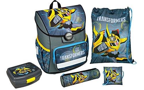 Scooli TFJK8371AZ - Schulranzen mit Schuhbeutel, Brustbeutel, Brotzeitdose und Schlamperetui, leicht, ergonomisch, Transformers mit Bumblebee, 5 teilig