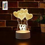 LED Love Balloon Lámpara de noche con luz de noche 3D, 16 colores Holograma Ilusión Luz Remoto Smart Touch Regalo de cumpleaños personalizado para amigas adolescentes