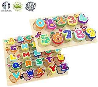 TOP BRIGHT Educational Toys for 1 Year Old Girl Boy Gifts Wooden Alphabet Puzzles for Toddlers (Pack of 2)