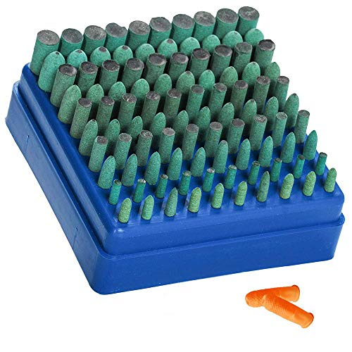 Eagles Polishing Accessories 100pcs Rubber Grinding Heads,3mm Shank Assorted Accessory, Mounted Point Wheel Head Kit Polish Rotary Tools - Free Finger Cots(Green)