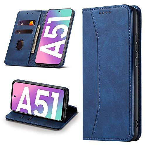 Leaisan Handyhülle für Samsung Galaxy A51 Hülle Premium Leder Flip Klappbare Stoßfeste Magnetische [Standfunktion] [Kartenfächern] Schutzhülle für Samsung Galaxy A51 Tasche - Blau