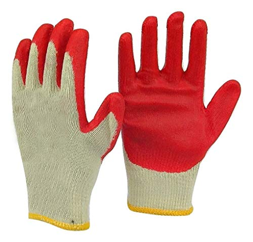 SafetyGrip Protection Gloves Economical String Knit Latex Dipped Palm Gloves, Nitrile Coated Work Gloves for General Purpose, One Size, Red (Pack of 300