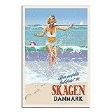 ZHBIN Vintage Kopenhagen Danmark Reise Poster Strand Bikini