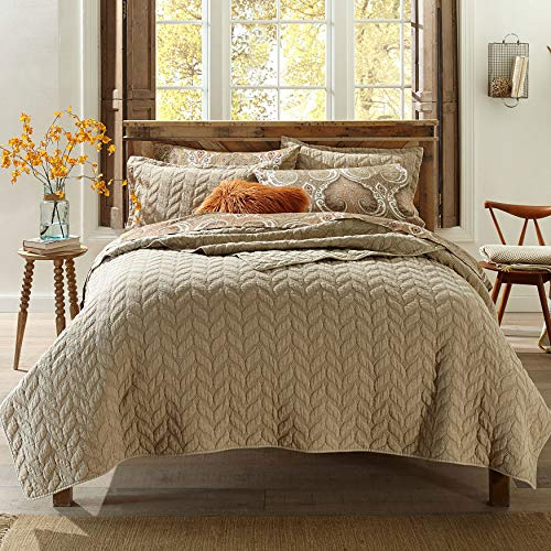 BrylaneHome Leaf Stonewash Quilt - Twin, Taupe