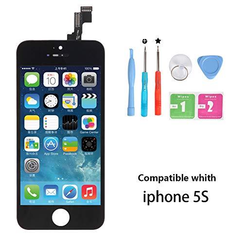 Rarlon Display Compatible with iPhone 5S Schwarz LCD Bildschirm Ersatz Für Touchscreen Glas Reparaturset Ersatz Einschließlich Kostenlose Werkzeug(5S-Schwarz)
